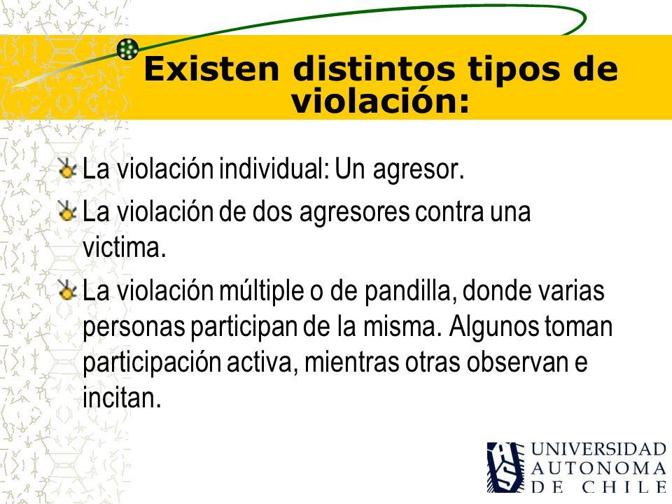ESTUDIOS EN CHILE Finalmente, cuando el agresor es una persona que no tiene vínculos con la víctima –10% restante de los casos-, se descubren los tras