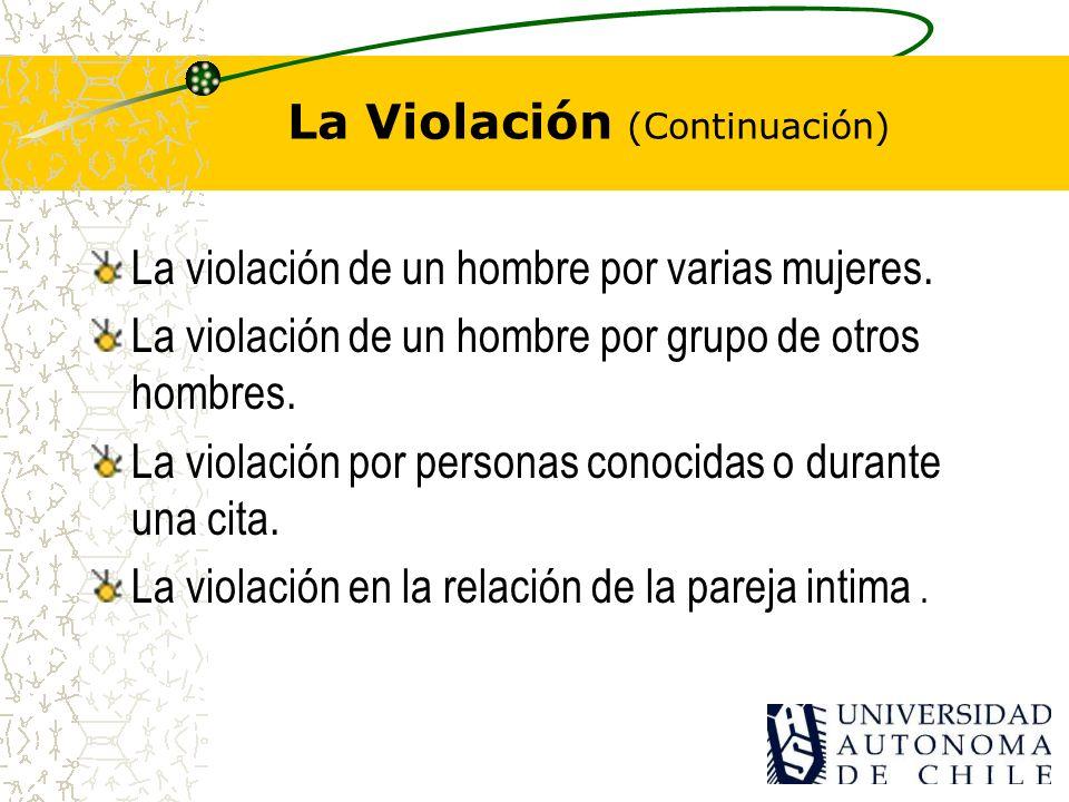 Existen distintos tipos de violación: La violación individual: Un agresor. La violación de dos agresores contra una victima. La violación múltiple o d