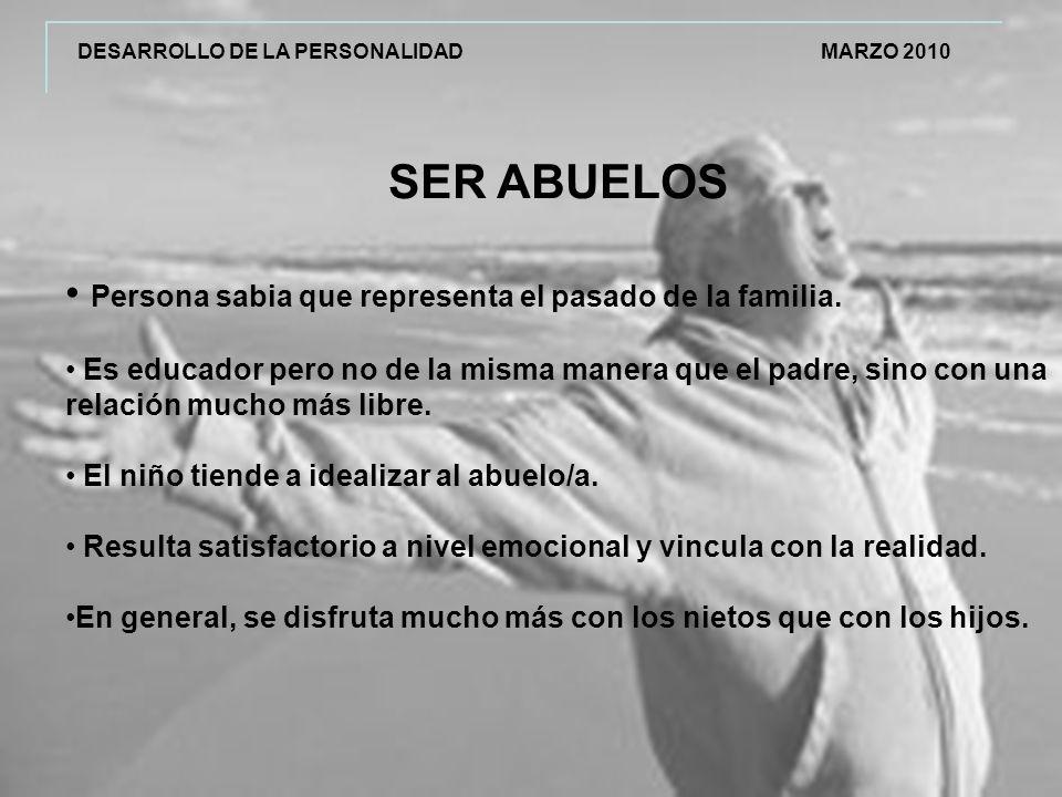 DESARROLLO DE LA PERSONALIDAD MARZO 2010 SER ABUELOS Persona sabia que representa el pasado de la familia.