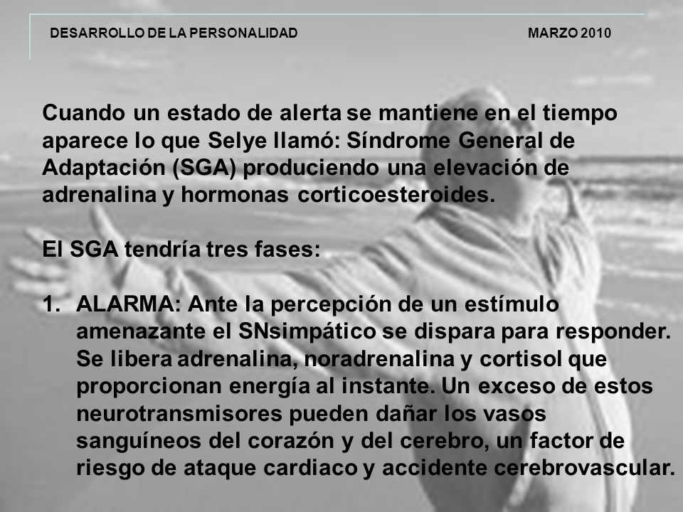 DESARROLLO DE LA PERSONALIDAD MARZO 2010 Cuando un estado de alerta se mantiene en el tiempo aparece lo que Selye llamó: Síndrome General de Adaptación (SGA) produciendo una elevación de adrenalina y hormonas corticoesteroides.