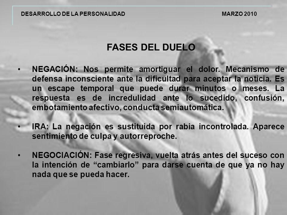 DESARROLLO DE LA PERSONALIDAD MARZO 2010 FASES DEL DUELO NEGACIÓN: Nos permite amortiguar el dolor.
