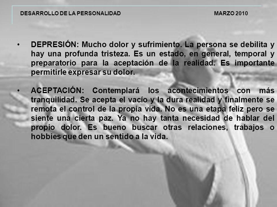DESARROLLO DE LA PERSONALIDAD MARZO 2010 DEPRESIÓN: Mucho dolor y sufrimiento.