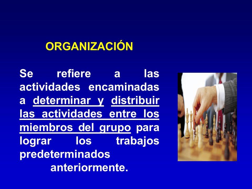 ORGANIZACIÓN Se refiere a las actividades encaminadas a determinar y distribuir las actividades entre los miembros del grupo para lograr los trabajos