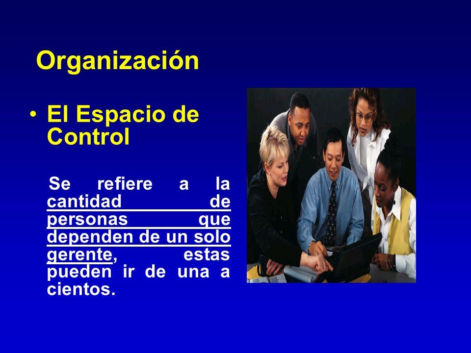 Organización El Espacio de Control Se refiere a la cantidad de personas que dependen de un solo gerente, estas pueden ir de una a cientos.