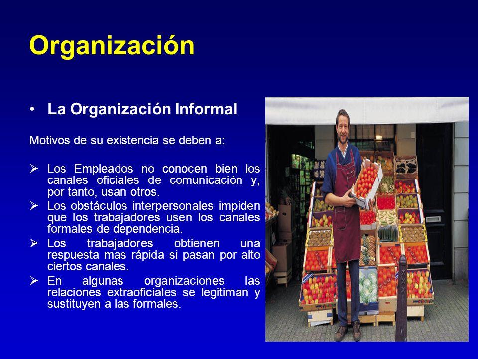 Organización La Organización Informal Motivos de su existencia se deben a: Los Empleados no conocen bien los canales oficiales de comunicación y, por