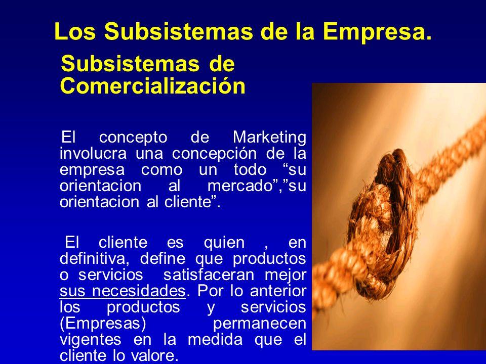 Los Subsistemas de la Empresa. Subsistemas de Comercialización El concepto de Marketing involucra una concepción de la empresa como un todo su orienta