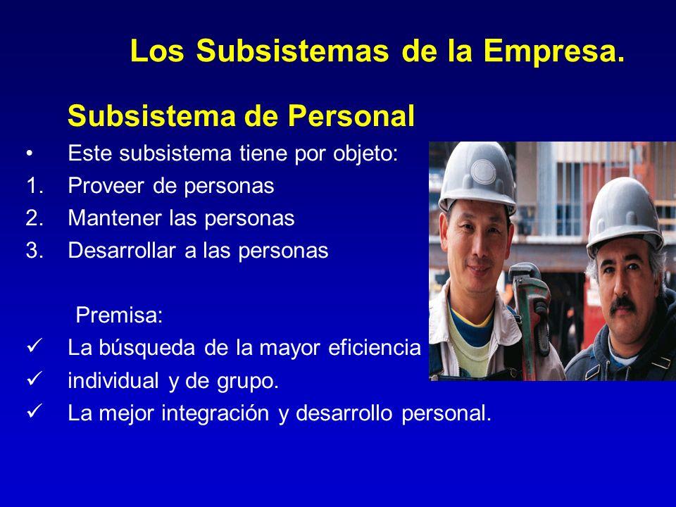 Los Subsistemas de la Empresa. Subsistema de Personal Este subsistema tiene por objeto: 1.Proveer de personas 2.Mantener las personas 3.Desarrollar a