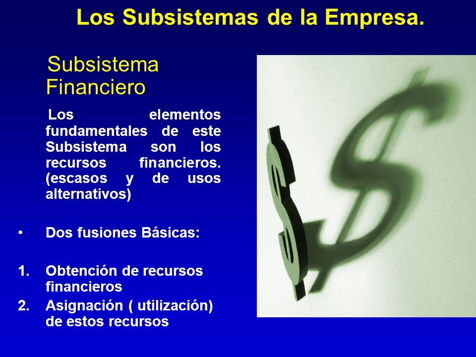 Los Subsistemas de la Empresa. Subsistema Financiero Los elementos fundamentales de este Subsistema son los recursos financieros. (escasos y de usos a