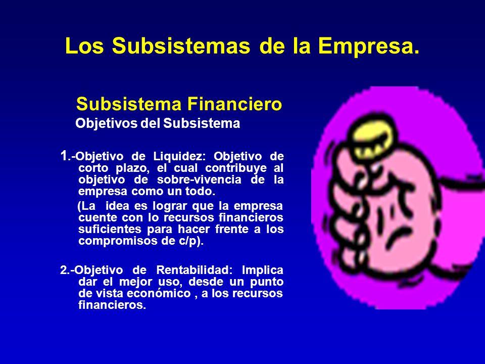 Los Subsistemas de la Empresa. Subsistema Financiero Objetivos del Subsistema 1.-Objetivo de Liquidez: Objetivo de corto plazo, el cual contribuye al