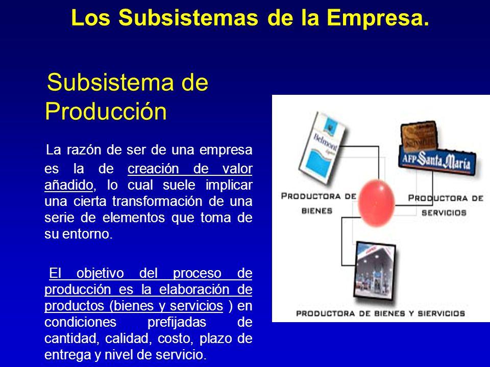 Los Subsistemas de la Empresa. Subsistema de Producción La razón de ser de una empresa es la de creación de valor añadido, lo cual suele implicar una