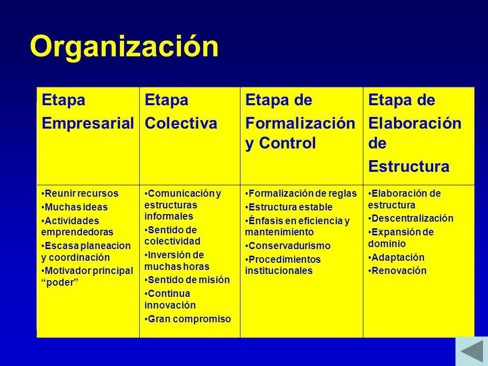 Organización Etapa Empresarial Etapa Colectiva Etapa de Formalización y Control Etapa de Elaboración de Estructura Reunir recursos Muchas ideas Activi