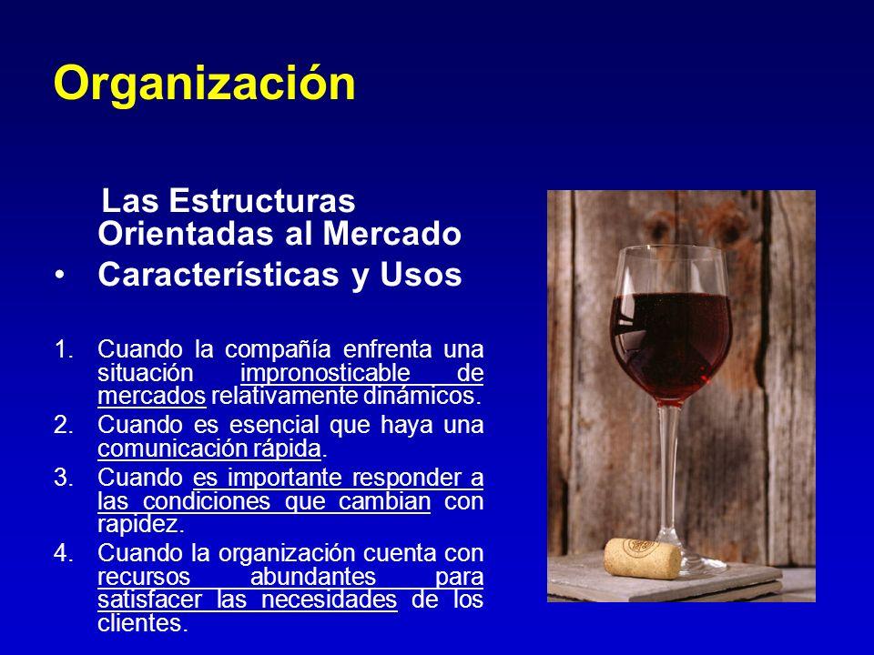Organización Las Estructuras Orientadas al Mercado Características y Usos 1.Cuando la compañía enfrenta una situación impronosticable de mercados rela