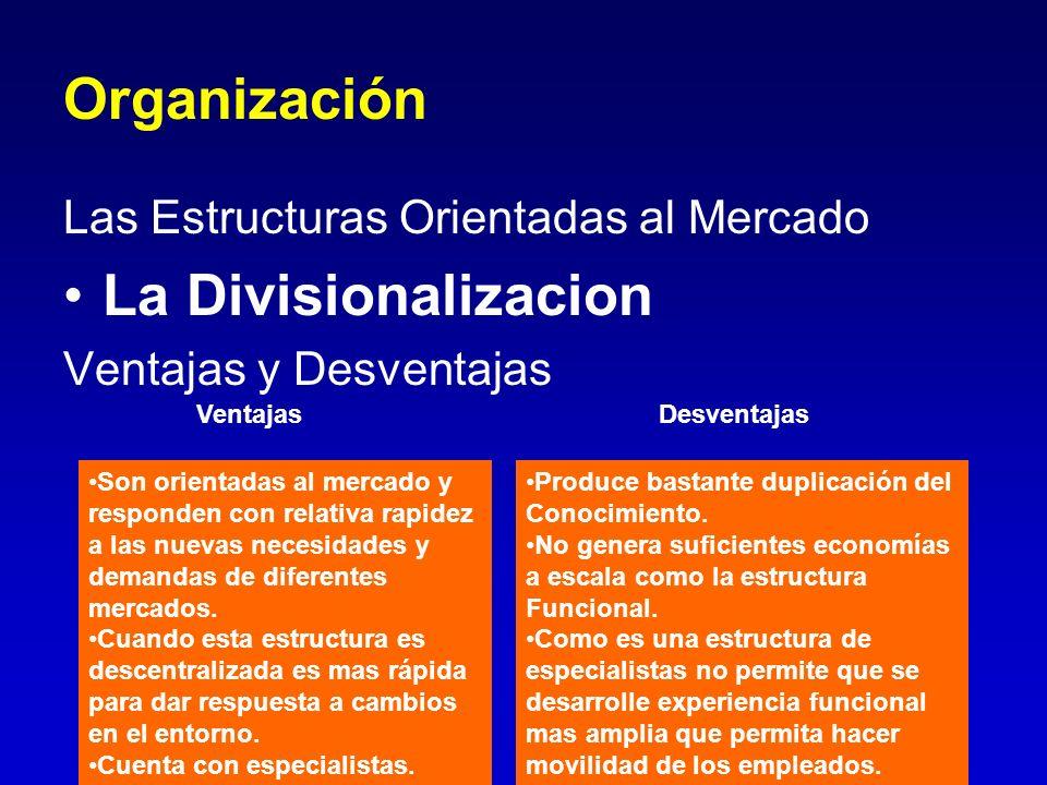 Organización Las Estructuras Orientadas al Mercado La Divisionalizacion Ventajas y Desventajas Ventajas Desventajas Son orientadas al mercado y respon