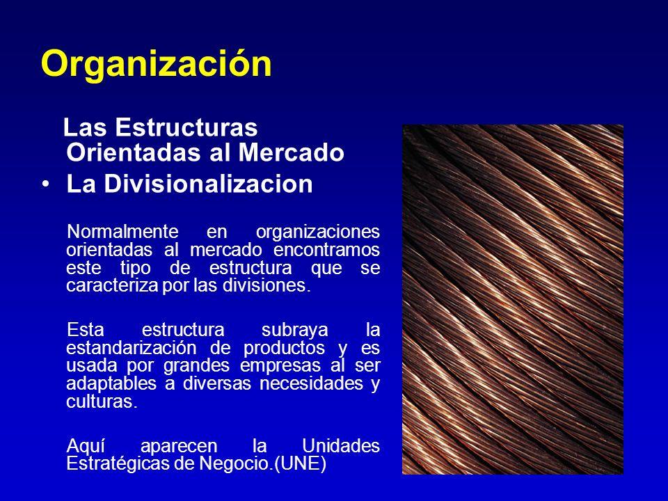 Organización Las Estructuras Orientadas al Mercado La Divisionalizacion Normalmente en organizaciones orientadas al mercado encontramos este tipo de e