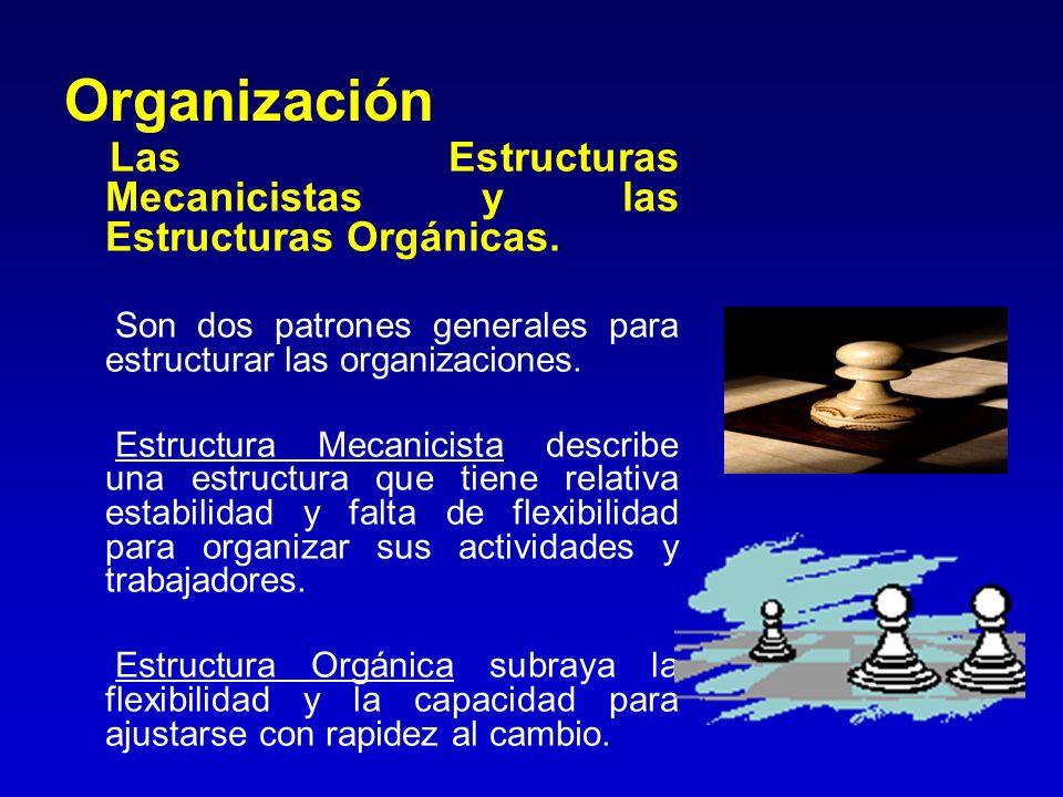 Organización Las Estructuras Mecanicistas y las Estructuras Orgánicas. Son dos patrones generales para estructurar las organizaciones. Estructura Meca