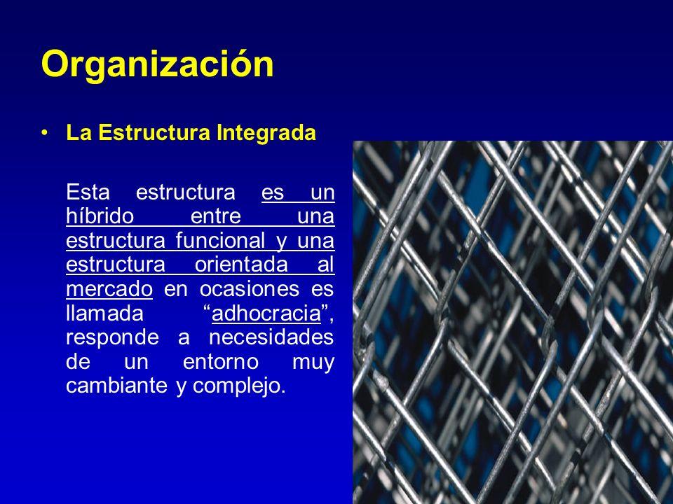 Organización La Estructura Integrada Esta estructura es un híbrido entre una estructura funcional y una estructura orientada al mercado en ocasiones e