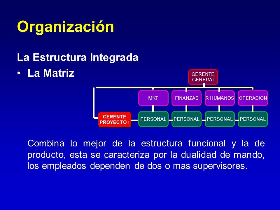 Organización La Estructura Integrada La Matriz Combina lo mejor de la estructura funcional y la de producto, esta se caracteriza por la dualidad de ma