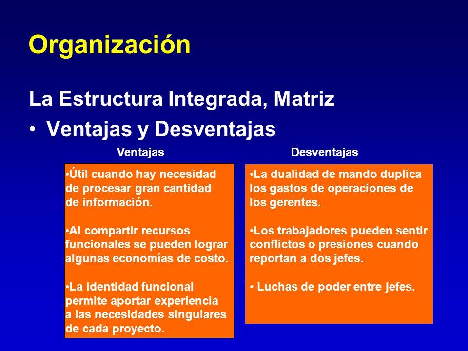 Organización La Estructura Integrada, Matriz Ventajas y Desventajas Ventajas Desventajas La dualidad de mando duplica los gastos de operaciones de los