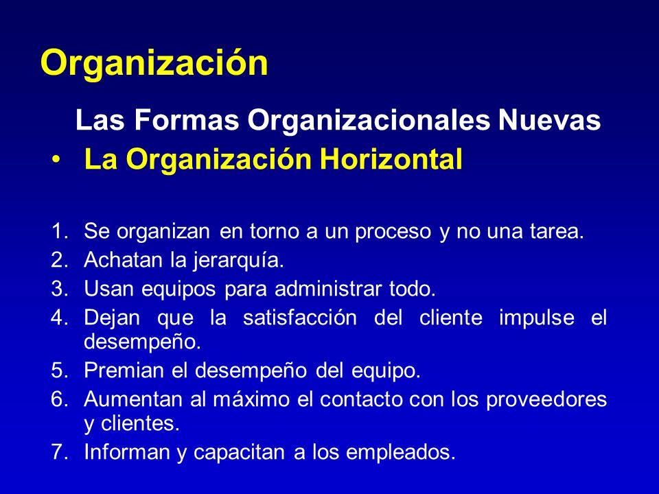 Organización Las Formas Organizacionales Nuevas La Organización Horizontal 1.Se organizan en torno a un proceso y no una tarea. 2.Achatan la jerarquía