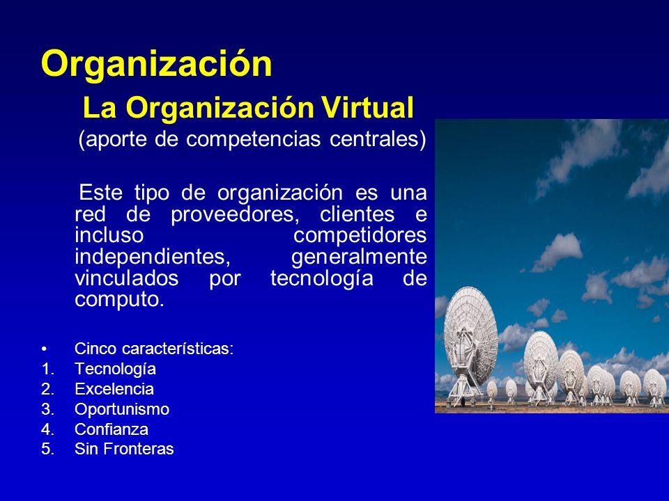 Organización La Organización Virtual (aporte de competencias centrales) Este tipo de organización es una red de proveedores, clientes e incluso compet