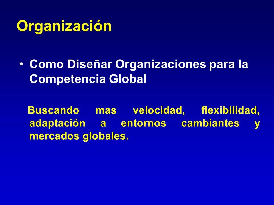 Organización Como Diseñar Organizaciones para la Competencia Global Buscando mas velocidad, flexibilidad, adaptación a entornos cambiantes y mercados