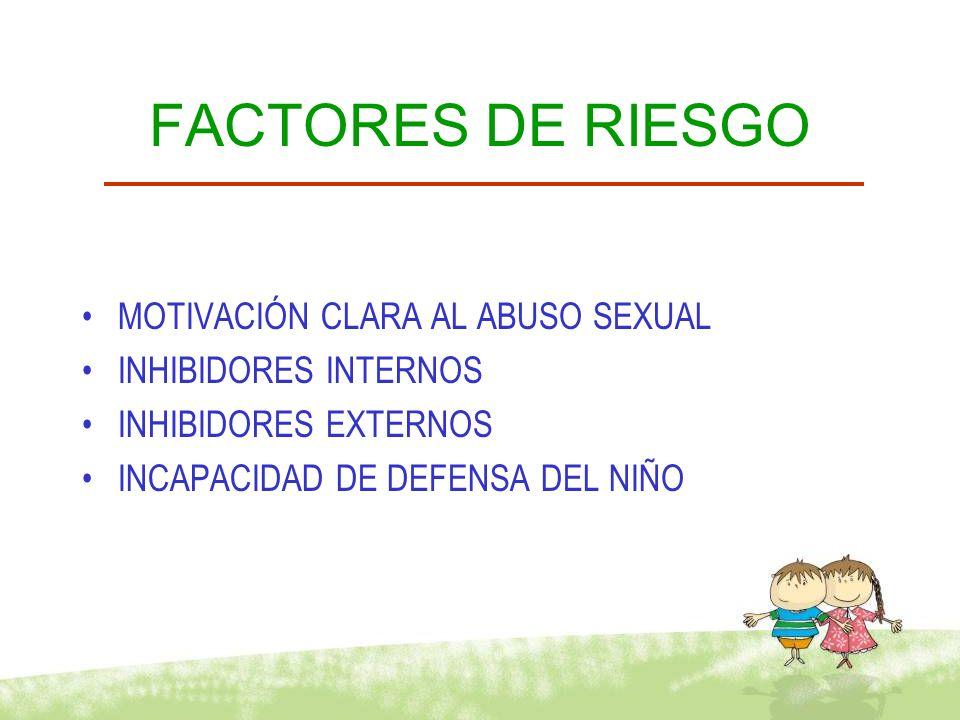 OTROS FACTORES ABUSO SEXUAL EN LA FAMILIA DE ORIGEN DEPENDENCIA DE SUSTANCIAS PROBLEMAS DE PAREJA AISLAMIENTO SOCIAL COMPULSIÓN