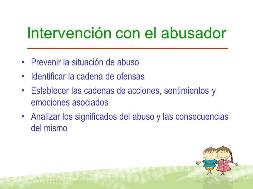Intervención con el abusador Promover abstinencia Instigar toma de decisiones Identificar situaciones de amenaza Clarificar fantasías de abuso Evitar re –ofensa (Steen, 1998, 2001)