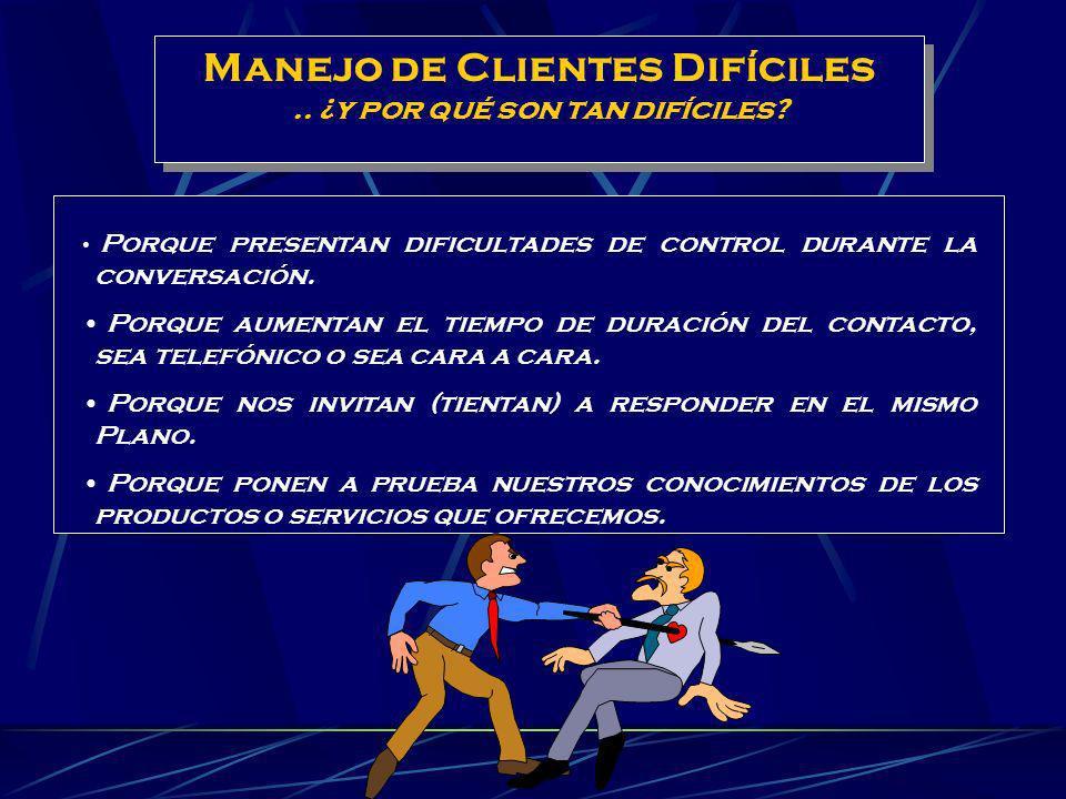 Experiencias con Clientes: 1.- Describa una situación de trato Difícil con un Cliente que no se haya podido resolver, que a usted le haya correspondid