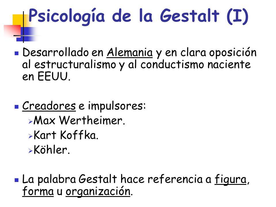 Psicología de la Gestalt (I) Desarrollado en Alemania y en clara oposición al estructuralismo y al conductismo naciente en EEUU. Creadores e impulsore