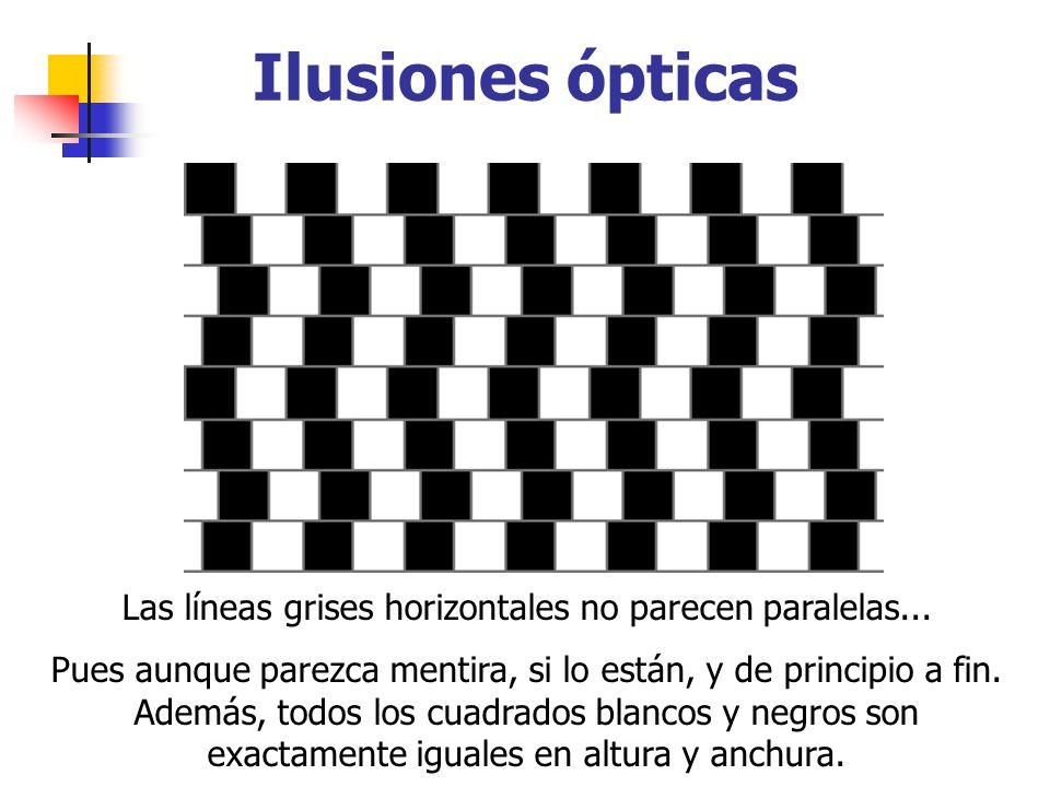 Las líneas grises horizontales no parecen paralelas... Pues aunque parezca mentira, si lo están, y de principio a fin. Además, todos los cuadrados bla