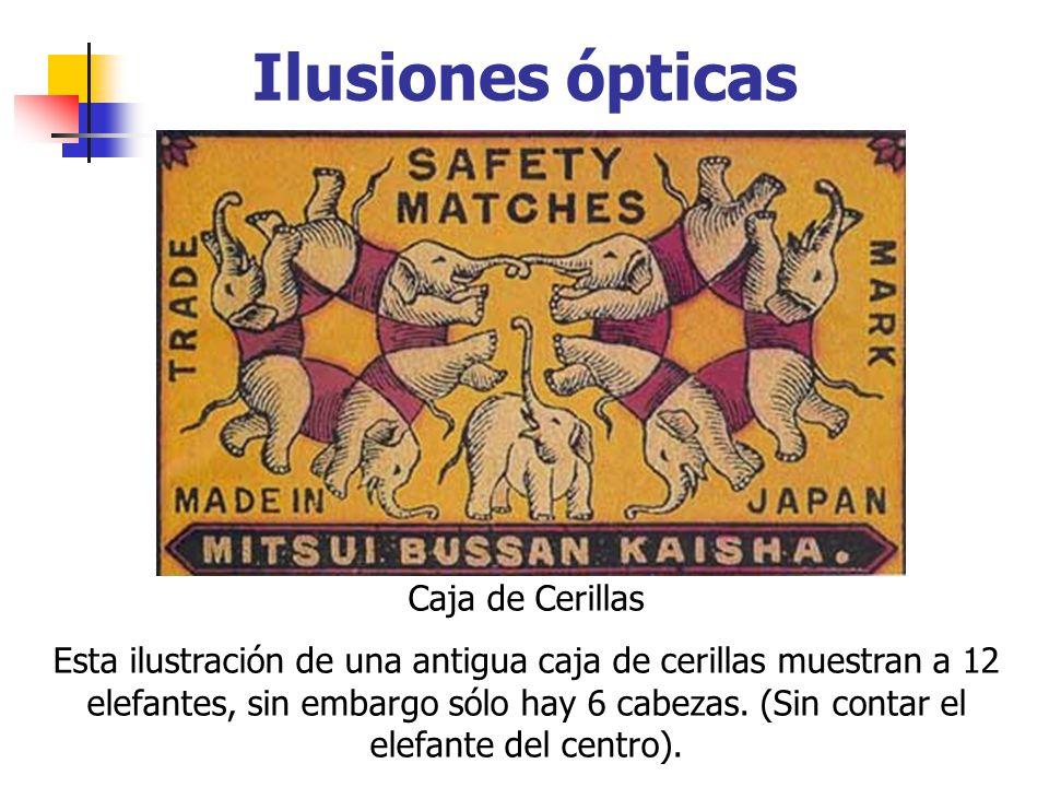 Ilusiones ópticas Caja de Cerillas Esta ilustración de una antigua caja de cerillas muestran a 12 elefantes, sin embargo sólo hay 6 cabezas. (Sin cont