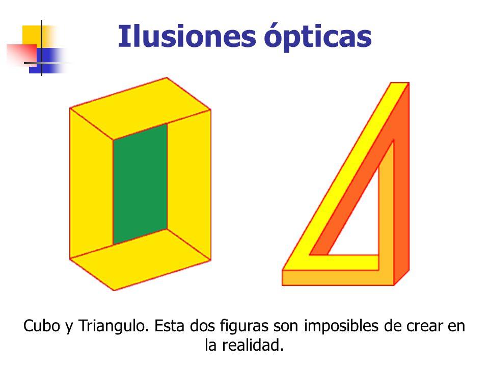 Ilusiones ópticas Cubo y Triangulo. Esta dos figuras son imposibles de crear en la realidad.