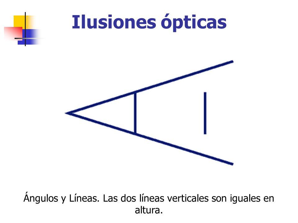 Ilusiones ópticas Ángulos y Líneas. Las dos líneas verticales son iguales en altura.