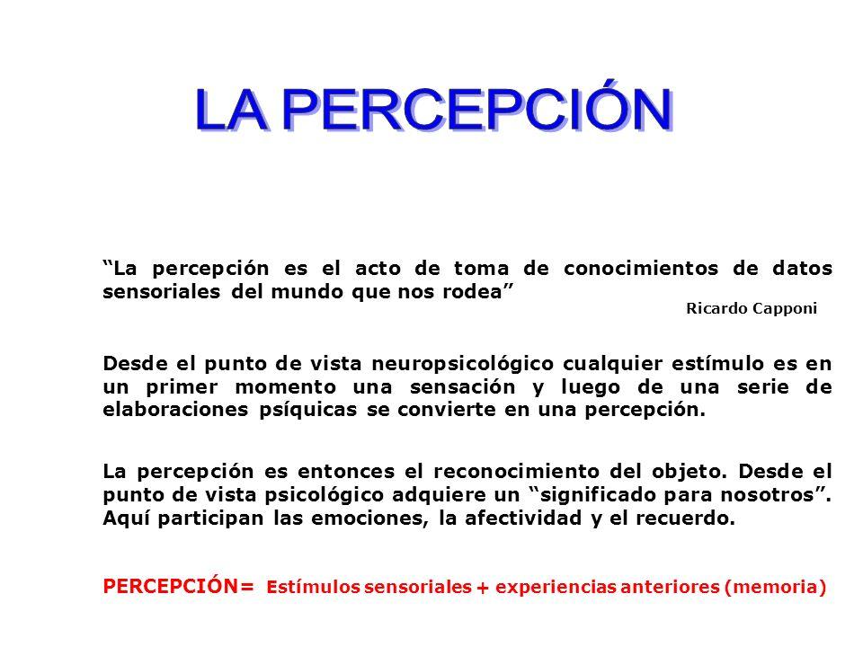 La percepción es el acto de toma de conocimientos de datos sensoriales del mundo que nos rodea Ricardo Capponi Desde el punto de vista neuropsicológico cualquier estímulo es en un primer momento una sensación y luego de una serie de elaboraciones psíquicas se convierte en una percepción.