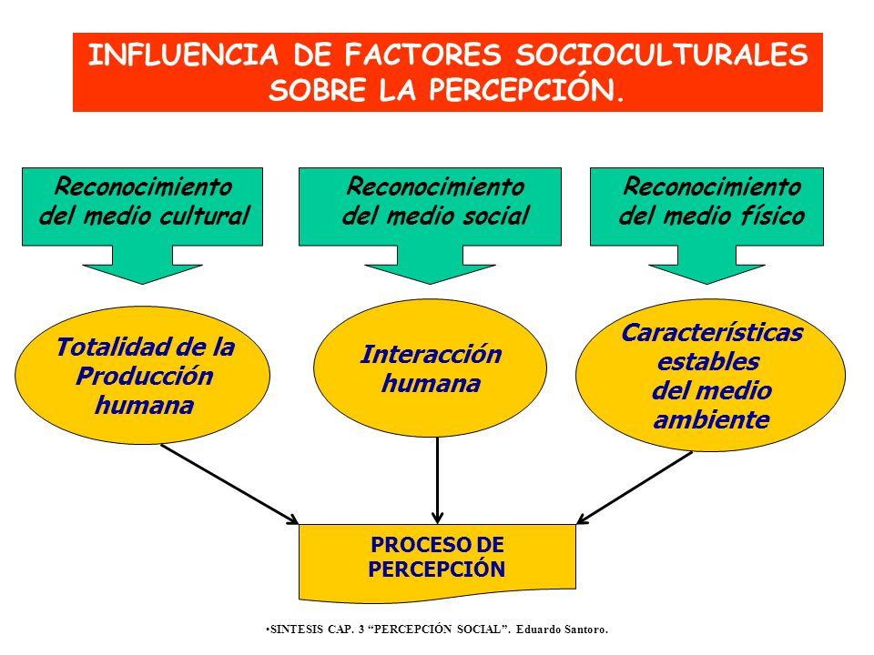 SINTESIS CAP. 3 PERCEPCIÓN SOCIAL. Eduardo Santoro. PROCESO DE PERCEPCIÓN Totalidad de la Producción humana INFLUENCIA DE FACTORES SOCIOCULTURALES SOB