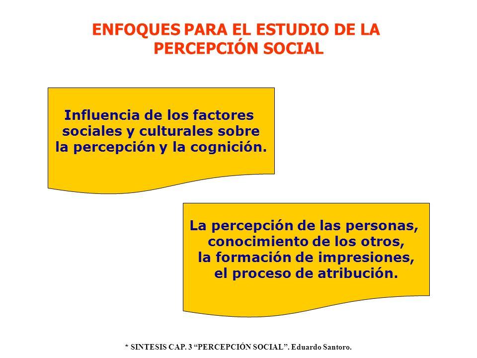 ENFOQUES PARA EL ESTUDIO DE LA PERCEPCIÓN SOCIAL Influencia de los factores sociales y culturales sobre la percepción y la cognición. La percepción de