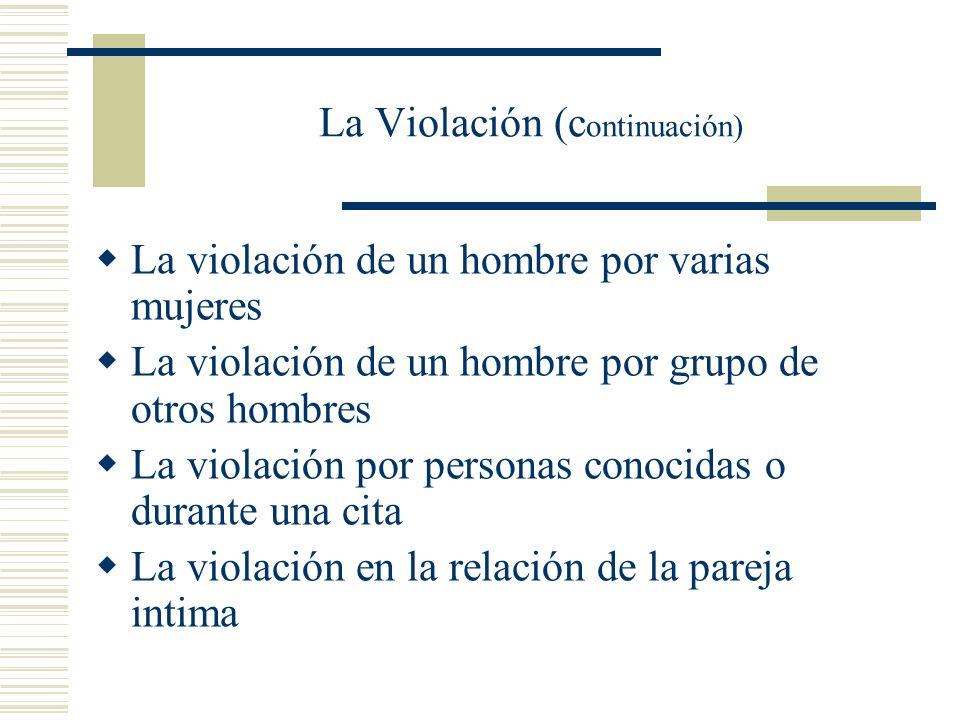 Existen distintos tipos de violación: La violación individual: Una ofensor La violación de dos ofensores contra una victima La violación múltiple o de