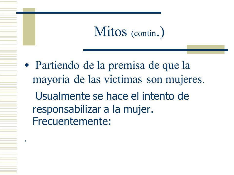 Mitos Muchos de los mitos que rodean la violación culpabilizan a la victima. Los mitos son parte de las estrategias utilizadas para justificar la cond