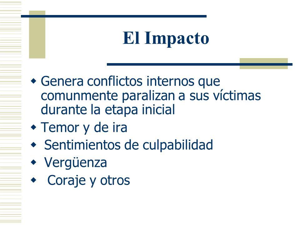 El Impacto La violencia sexual genera sentimientos de aislamiento e impotencia en sus víctimas La respuesta inicial es comunmente una de sentimientos