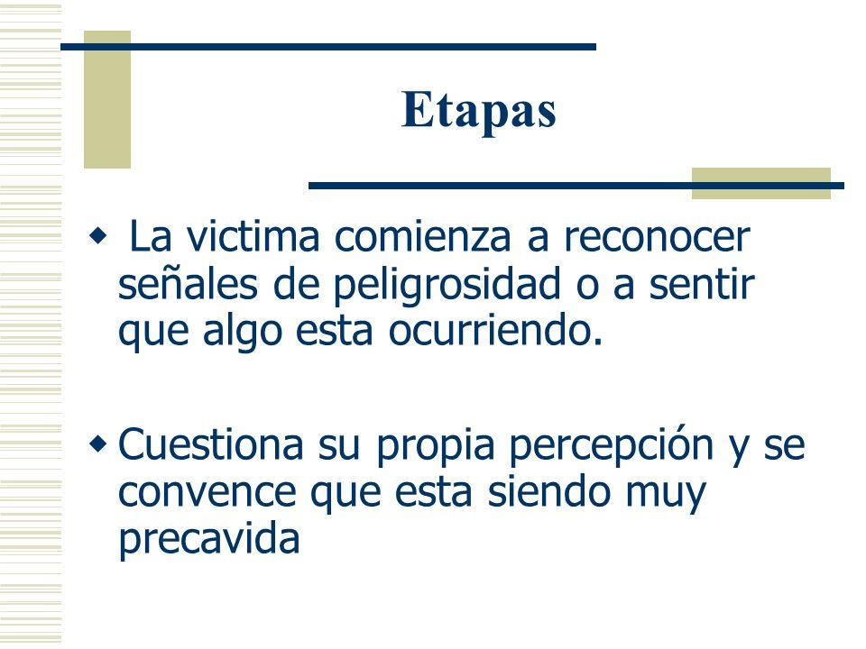 Etapas Etapa de anticipación (Cuando mujer percibe que algo anda mal) Respuesta que ocurre durante la fase inicial del ataque sexual donde