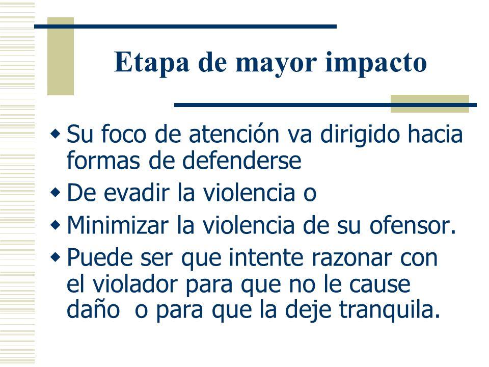 Etapa de mayor impacto Describe el periodo durante el cual ocurre la violencia sexua y La respuesta inmediata que ofrece la victima en esos momentos d