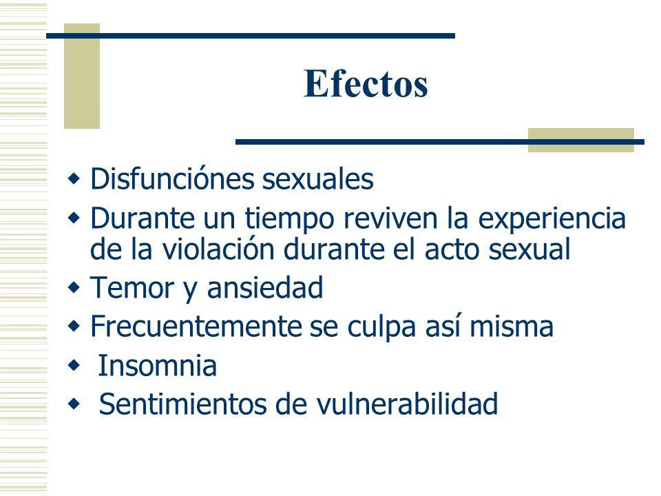 Efectos Afecta sus relaciones interpersonales, particularmente con hombres Desconfianza ante desconocidos y conocidos Temor de salir sola, de estar so