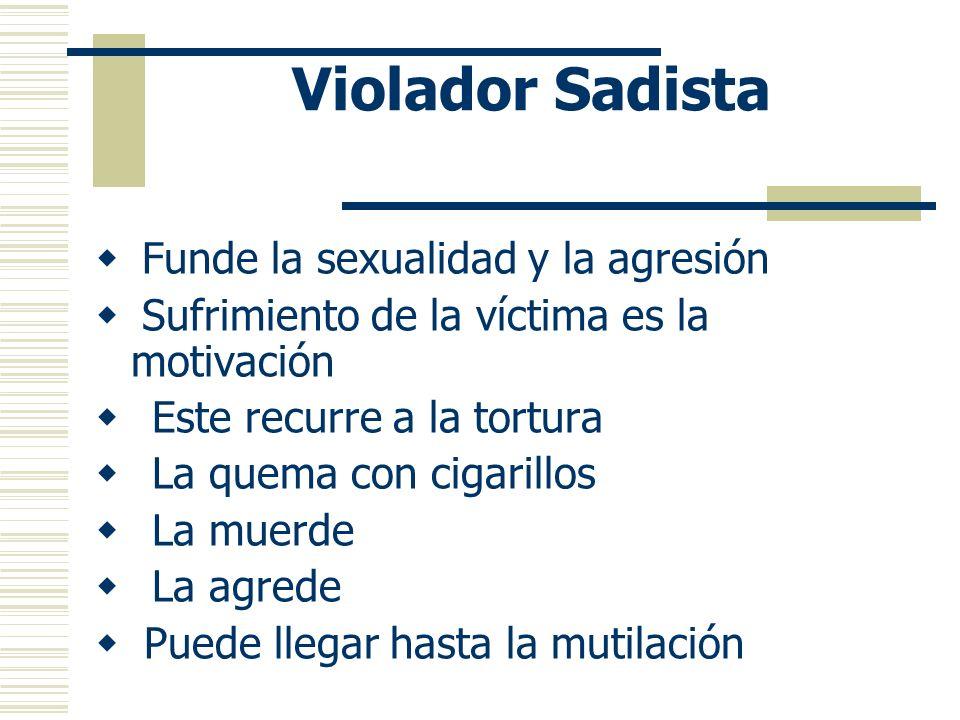 Violador cuya motivación es el Coraje Es el violador cuya violencia es de mayor intensidad Expresa un coraje descontrolado Recurre al abuso físico y v