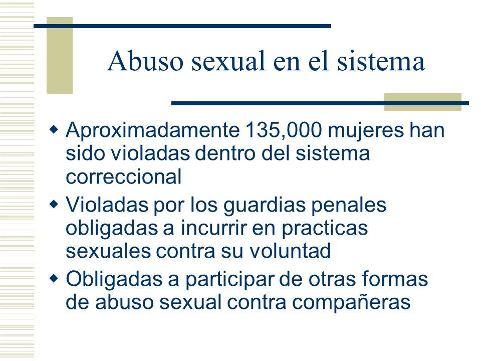 Abuso sexual en el sistema Aproximadamente 135,000 mujeres han sido violadas dentro del sistema correccional Violadas por los guardias penales obligadas a incurrir en practicas sexuales contra su voluntad Obligadas a participar de otras formas de abuso sexual contra compañeras