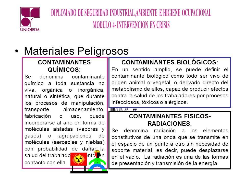 Materiales Peligrosos CONTAMINANTES QUÍMICOS: Se denomina contaminante químico a toda sustancia no viva, orgánica o inorgánica, natural o sintética, q