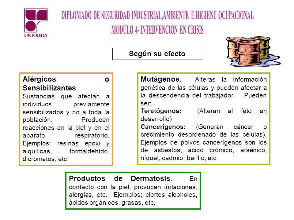 Según su efecto Alérgicos o Sensibilizantes. Sustancias que afectan a individuos previamente sensibilizados y no a toda la población. Producen reaccio