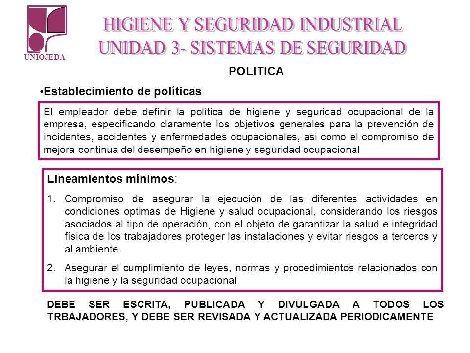 UNIOJEDA POLITICA Establecimiento de políticas El empleador debe definir la política de higiene y seguridad ocupacional de la empresa, especificando c