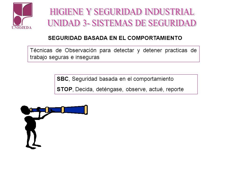 UNIOJEDA SEGURIDAD BASADA EN EL COMPORTAMIENTO Técnicas de Observación para detectar y detener practicas de trabajo seguras e inseguras SBC, Seguridad