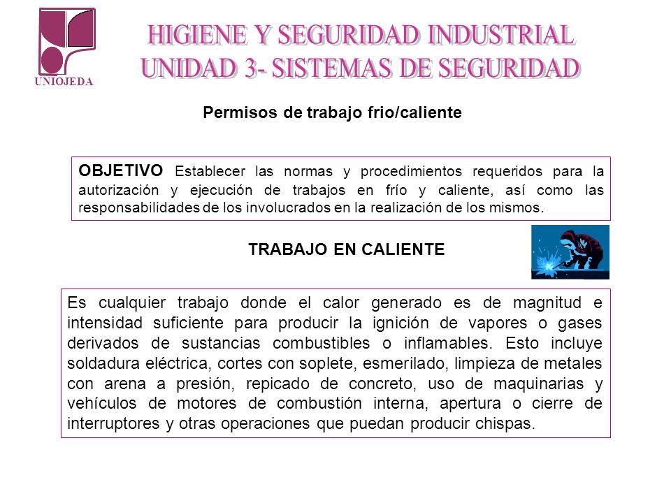 UNIOJEDA OBJETIVO Establecer las normas y procedimientos requeridos para la autorización y ejecución de trabajos en frío y caliente, así como las resp