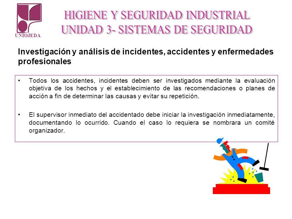 UNIOJEDA Todos los accidentes, incidentes deben ser investigados mediante la evaluación objetiva de los hechos y el establecimiento de las recomendaci
